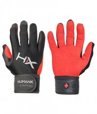 HARBINGER HUMANX X3 Competition Full Finger WristWrap Gloves RED / BLACK