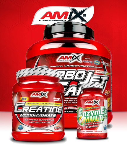 PROMO STACK Amix CarboJet Gain 5lbs. + Amix Creatine Monohydrate Powder 500g. + EnzymEx 90 Caps.