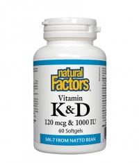 NATURAL FACTORS Vitamin K&D 120mcg. & 1000IU / 60 Soft.