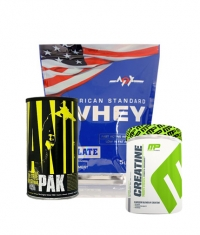 PROMO STACK MEX American Standard Whey 5 Lbs. / Animal Pak 44 / Muscle Pharm Creatine  300g