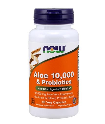 now Aloe Vera 10,000mg & Probiotics / 60Vcaps.