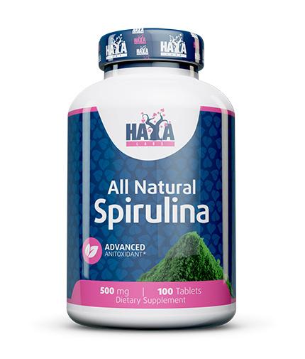 HAYA LABS All Natural Spirulina 500mg. / 100 Vtabs.