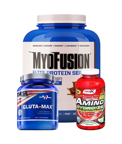 PROMO STACK Gaspari Myofusion Elite Series + Amix Amino Hydro-32 / 250 Tabs. + MEX Gluta-Max