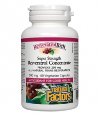 NATURAL FACTORS Super Strength Resveratrol Concentrate 500mg. / 60 Vcaps