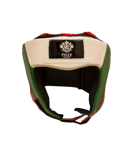 pulev-sport Head Guard Lion Logo White, Green, Red with Partial Coverage