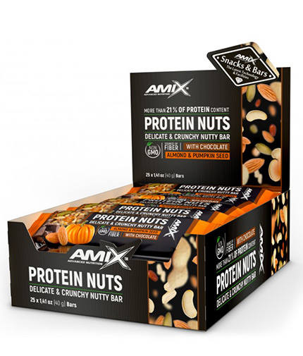 amix Protein Nuts Crunchy Nutty Bar Box / 25x40g