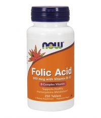 NOW Folic Acid /800mcg./ + B-12 /25mcg./ 250 VegTabs.