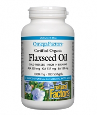 NATURAL FACTORS Flaxseed Oil 1000mg. / 180 Softgels.