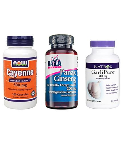 PROMO STACK Natrol Garli Pure / HAYA Panax Ginseng / NOW Cayenne
