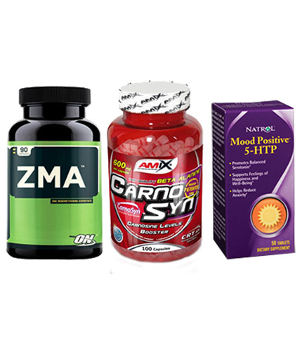 PROMO STACK Natrol 5-HTP Mood Positive / ON ZMA / Amix Carno-Syn