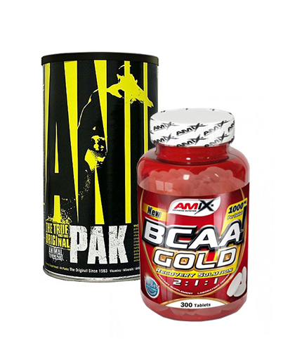 PROMO STACK Animal Pak 44 Packs + Amix BCAA Gold 300 Tabs 50% OFF