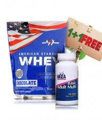 PROMO STACK MEX American Standard Whey / Haya Labs Basic Adult Multi FREE!