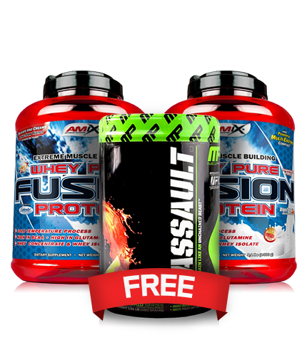promo-stack Amix Whey Fusion 5 lbs. + MP Assault 20serv. 2+1 FREE!